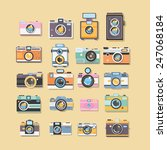 hipster retro camera or photo... | Shutterstock .eps vector #247068184
