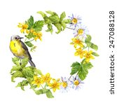 retro wreath with spring bird... | Shutterstock . vector #247088128