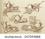 tea ceremony  vintage drawing...   Shutterstock .eps vector #247093888