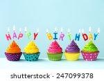 happy birthday cupcakes | Shutterstock . vector #247099378