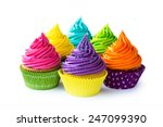 colorful cupcakes against a... | Shutterstock . vector #247099390