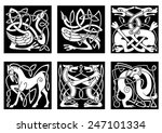 abstract white animal ornaments ... | Shutterstock .eps vector #247101334