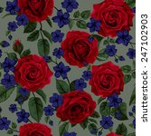 seamless pattern with red roses ... | Shutterstock .eps vector #247102903