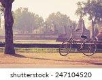 vintage bicycle in sukhothai... | Shutterstock . vector #247104520
