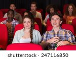 young couple watching a film at ... | Shutterstock . vector #247116850
