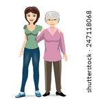 an elderly woman with adult... | Shutterstock .eps vector #247118068