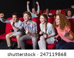 young friends watching a film... | Shutterstock . vector #247119868