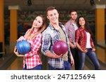 portrait of friends in bowling... | Shutterstock . vector #247125694