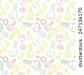 seamless pattern with keys. for ... | Shutterstock .eps vector #247136170