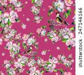 seamless pattern spring bird on ...   Shutterstock . vector #247146166