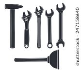 Set  Silhouettes Of Tools. Ope...