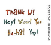 vector cartoon flat text signs...