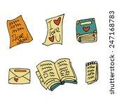 vector cartoon flat paper books ...