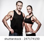 couple with beautiful athletic... | Shutterstock . vector #247174150