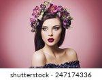 beautiful young woman wearing... | Shutterstock . vector #247174336