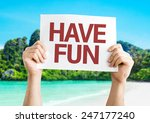 have fun sign with a beach on... | Shutterstock . vector #247177240