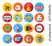 set of flat shopping icons....