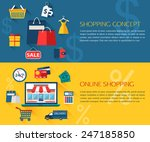 set of shopping and online... | Shutterstock .eps vector #247185850