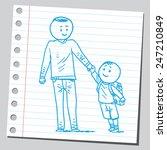 school kid with dad | Shutterstock .eps vector #247210849