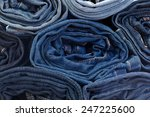 Jeans Constricted Rolls Closeup