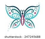 vignette butterfly with flowers ...   Shutterstock .eps vector #247245688