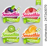 set sticers smoothie with... | Shutterstock .eps vector #247263070