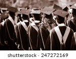 Stock photo graduates are walking in line to get your degree monotone 247272169