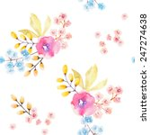 watercolor flower seamless... | Shutterstock .eps vector #247274638
