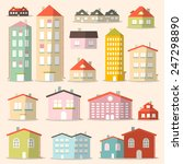 vector flat design paper houses ... | Shutterstock .eps vector #247298890