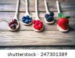 Berries On Wooden Rustic...