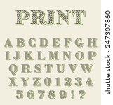 print technique retro alphabet   Shutterstock .eps vector #247307860