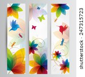 rainbow floral art with a bird... | Shutterstock .eps vector #247315723