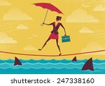 businesswoman walks tightrope... | Shutterstock . vector #247338160