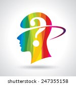 man thinking many question.... | Shutterstock .eps vector #247355158