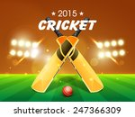 shiny bats with red ball for... | Shutterstock .eps vector #247366309