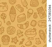 doodle sweets pattern. vector... | Shutterstock .eps vector #247381066