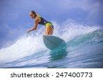 surfer girl on amazing blue...   Shutterstock . vector #247400773