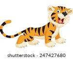 cute tiger cartoon roaring | Shutterstock .eps vector #247427680