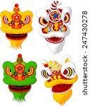 Cartoon Chinese Lion Head...