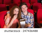 young couple watching a film at ... | Shutterstock . vector #247436488