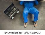 mechanic lying and working... | Shutterstock . vector #247438930