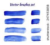 set of blue acrylic brush... | Shutterstock .eps vector #247453858