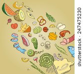 collection of hand drawn food.... | Shutterstock .eps vector #247475230