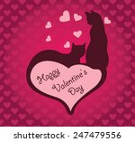 valentine card with cats and ...   Shutterstock .eps vector #247479556
