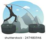 businessman is doing pole vault ... | Shutterstock .eps vector #247480546