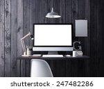 computer on table. 3d rendering. | Shutterstock . vector #247482286