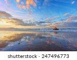 Sopelana Beach At Sunset With...