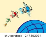 set of colorful cash with wings ... | Shutterstock .eps vector #247503034
