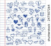 sketchy love and hearts doodles ... | Shutterstock .eps vector #247507264