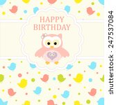 baby girl arrival card. baby... | Shutterstock .eps vector #247537084